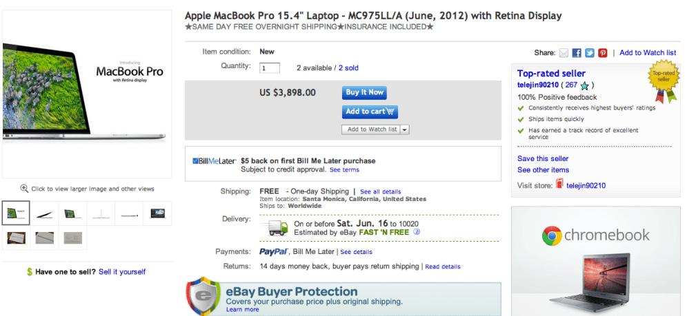eBay $3,898