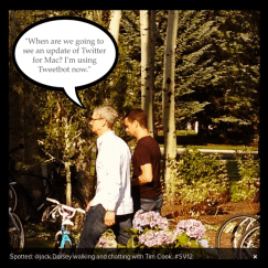 Tim Cook with Twitter creator Jack Dorsey