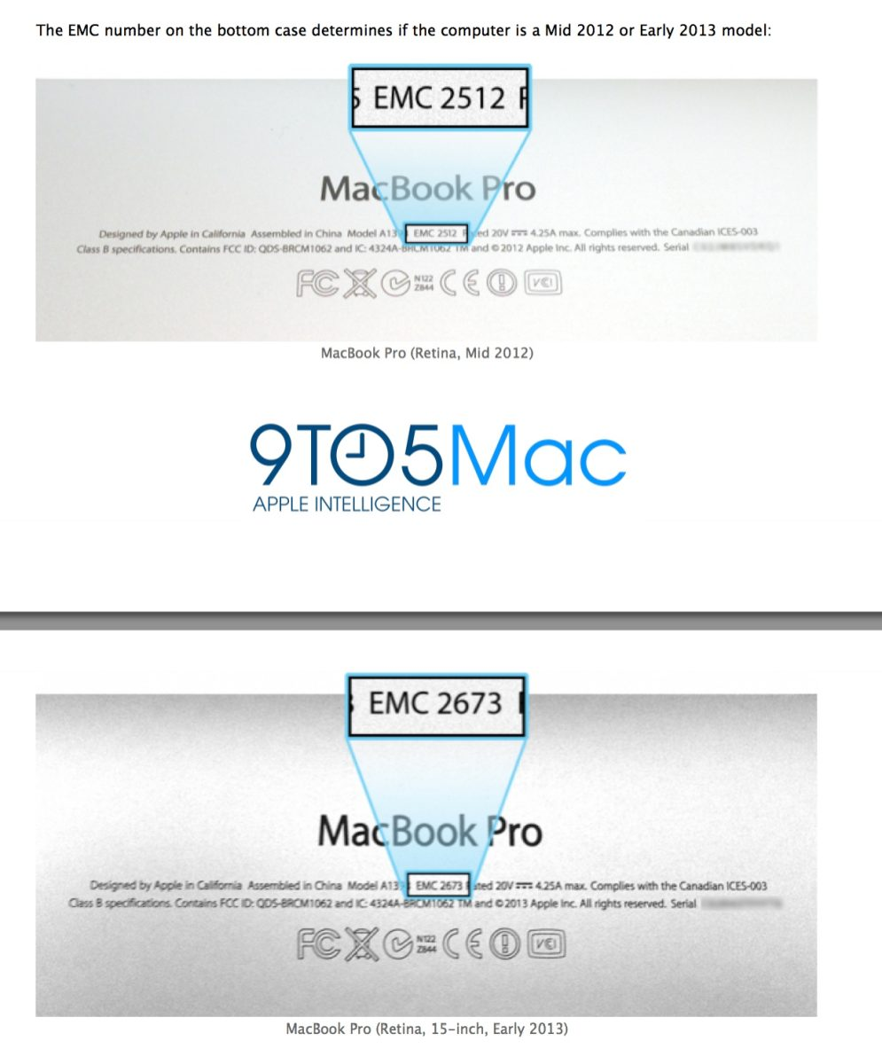 How to tell if you have a 2012 or 2013 15-inch model