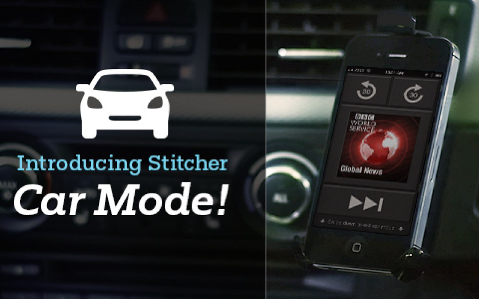 Stitcher Radio iPhone app updated with simplified 'Car Mode' UI for drivers