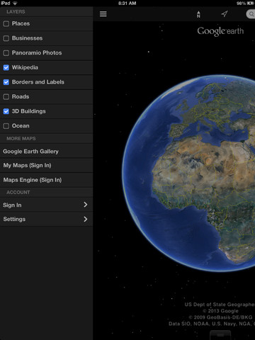 Google Earth for iOS gets new UI w/ sidebar, Street View & improved