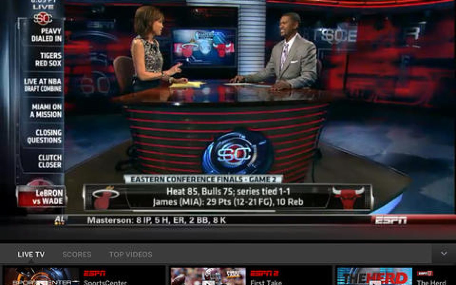 WatchESPN app updated for iOS 7, adds 'Live Toolbar' that
