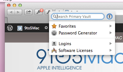 1Password mini in Safari