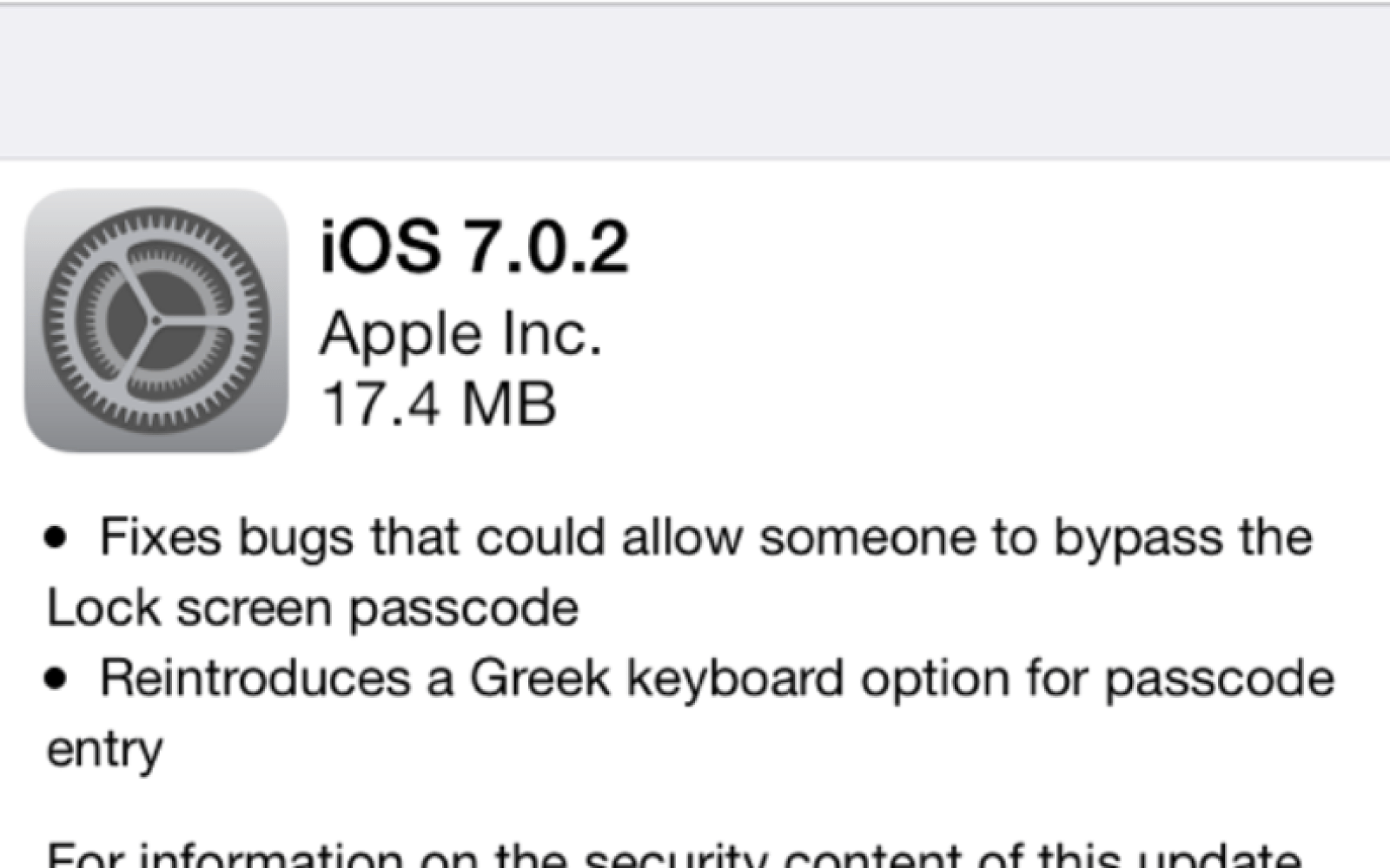 Apple releases iOS 7.0.2 with fix for Lock screen passcode bypass flaw