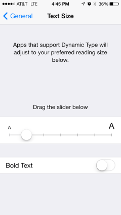 Bold text is now in Text Size and doesn't require a restart