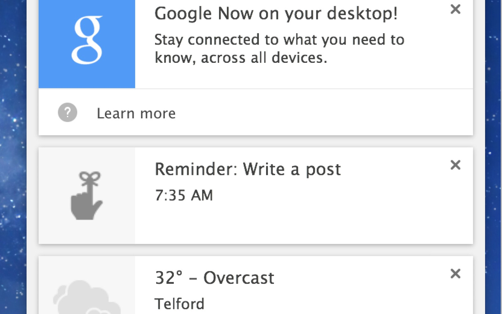 Google brings Google Now notifications to Chrome beta for desktop users
