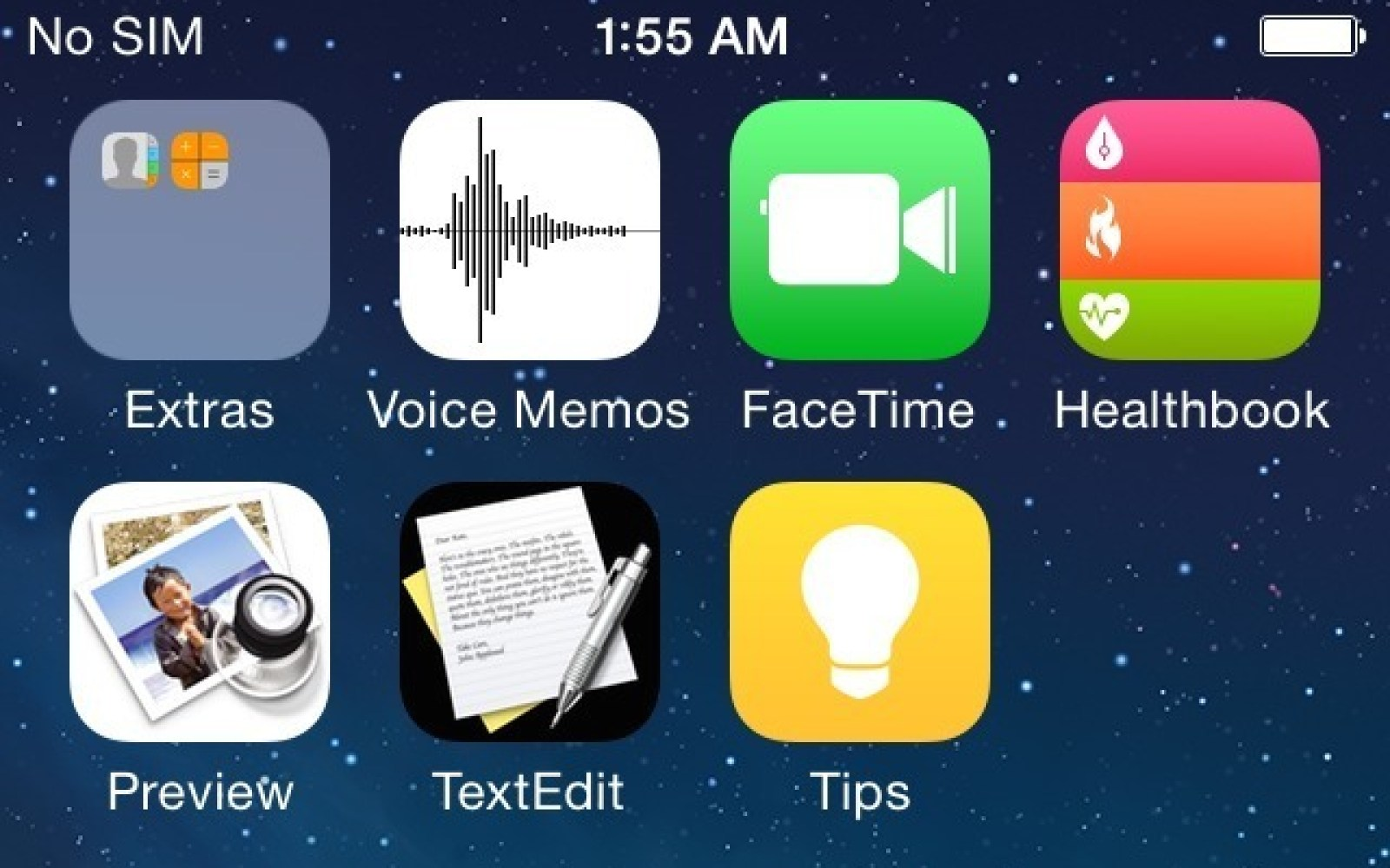 Screenshots of iOS 8: Healthbook, Preview, TextEdit icons leaked
