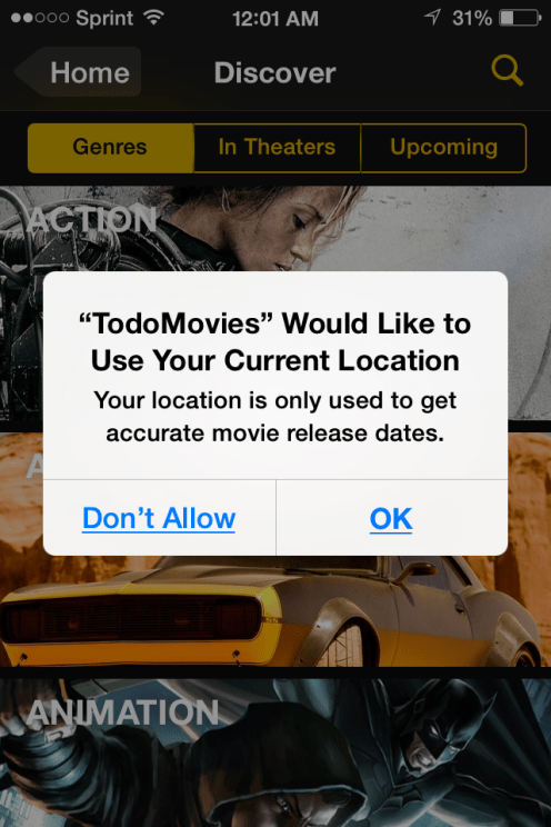 todoMovies Location Prompt