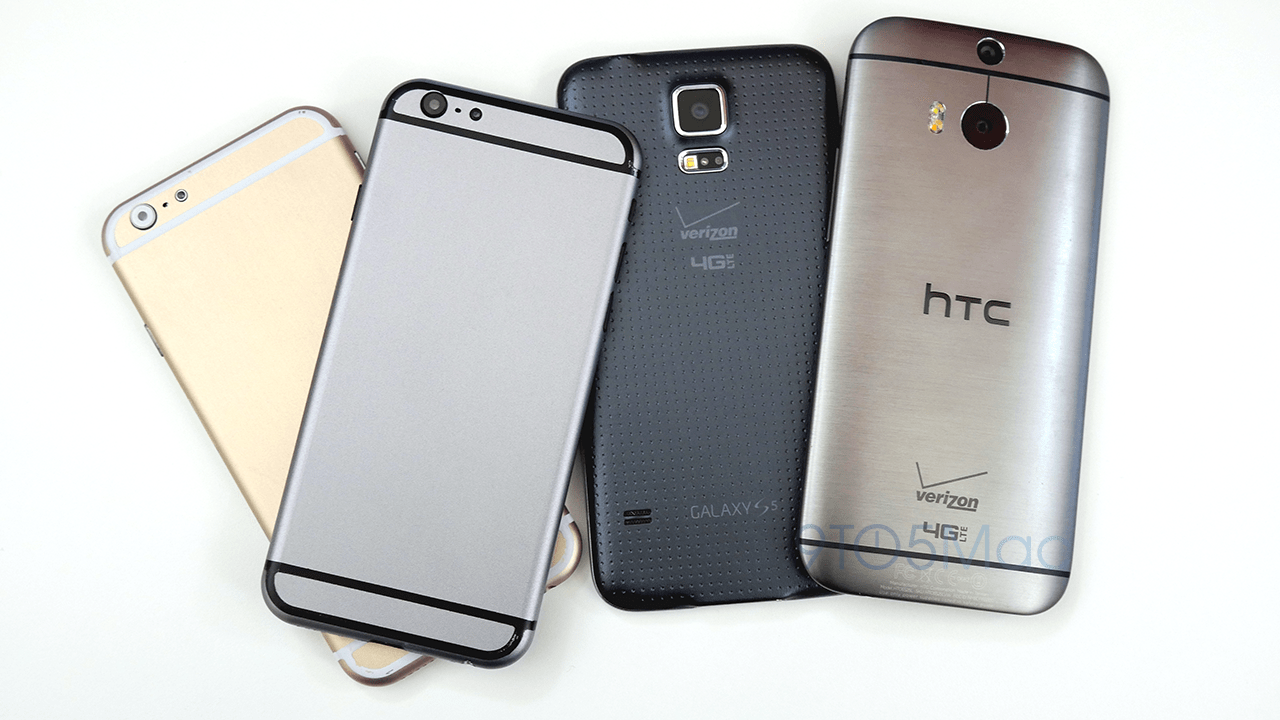 Detailed Space Gray iPhone 6 mockup compared to HTC One M8 and Samsung Galaxy S5 (4K video)