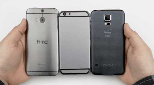 Detailed Space Gray iPhone 6 mockup compared to HTC One M8 ...