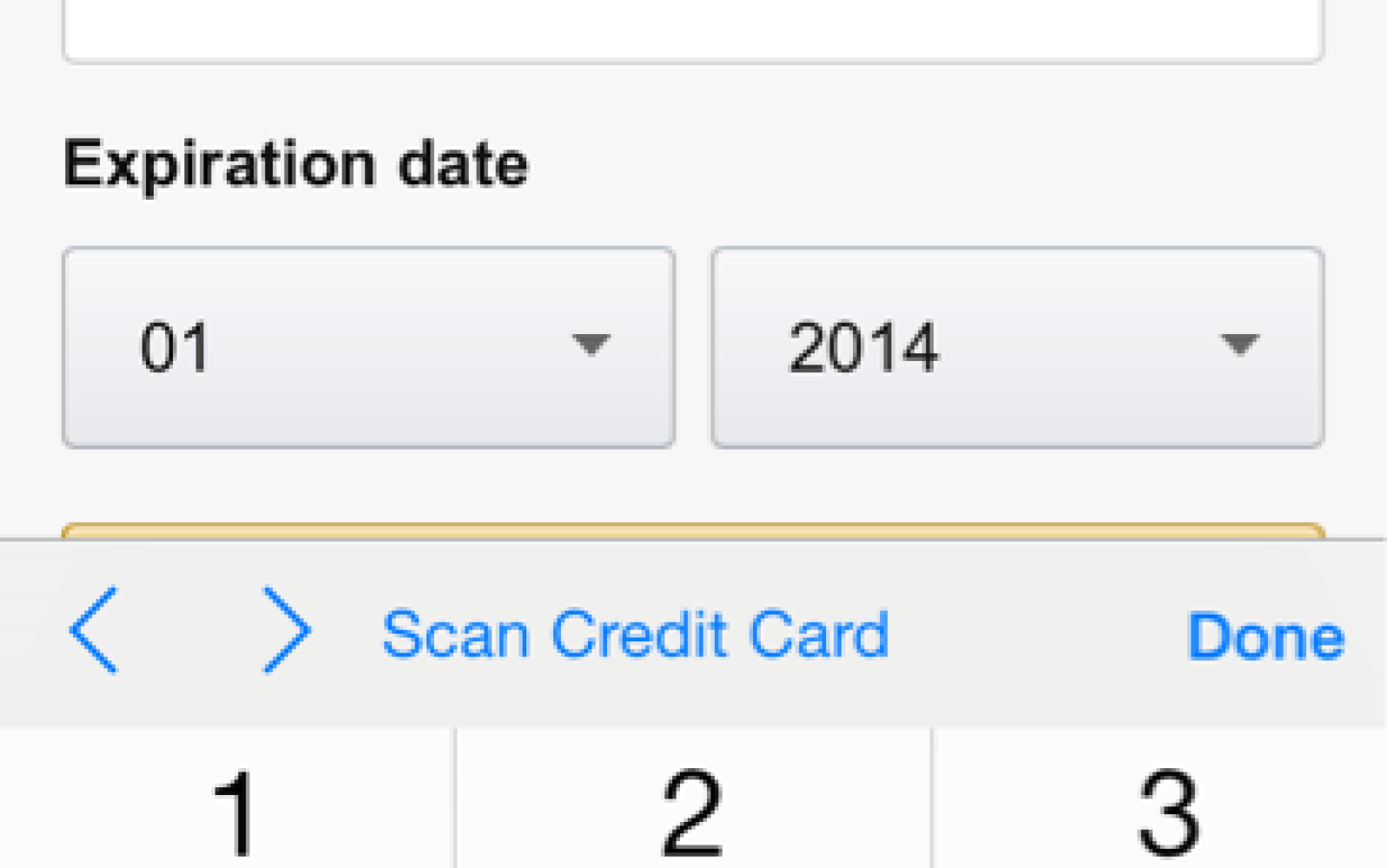 Safari in iOS 8 uses camera to scan and enter credit card info
