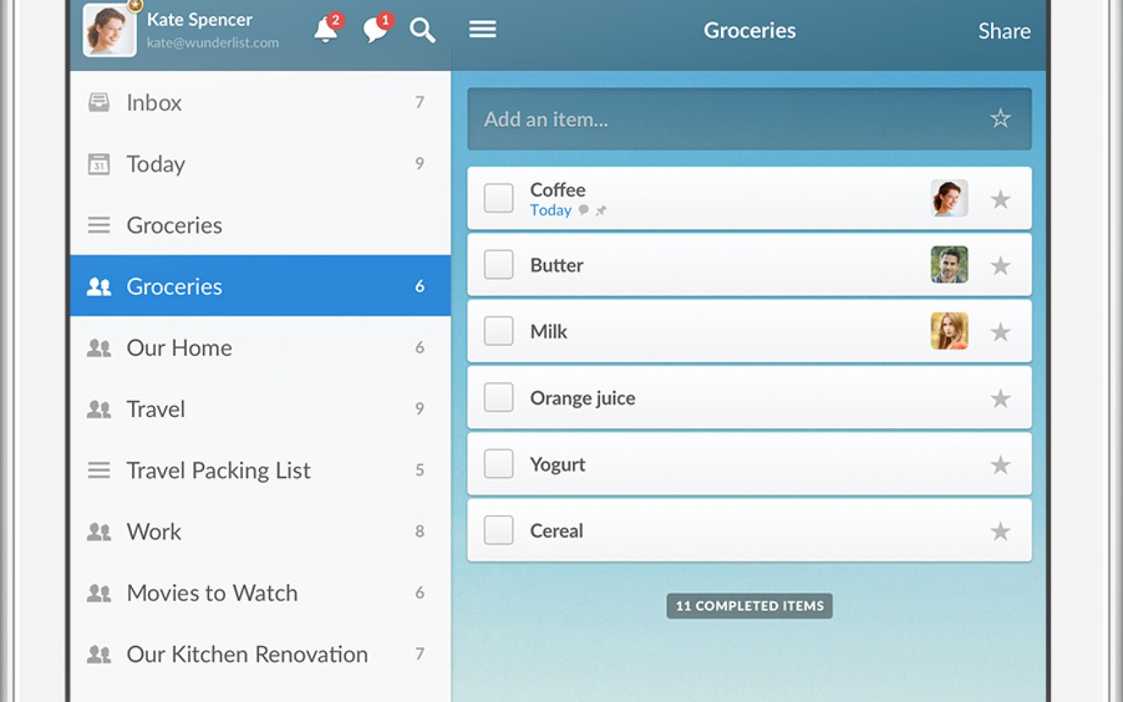 Wunderlist updated with new layout and real-time list syncing