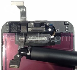 Close-up photos appear to show iPhone 6 display panel w/ tampered edges, power button, & mute toggle