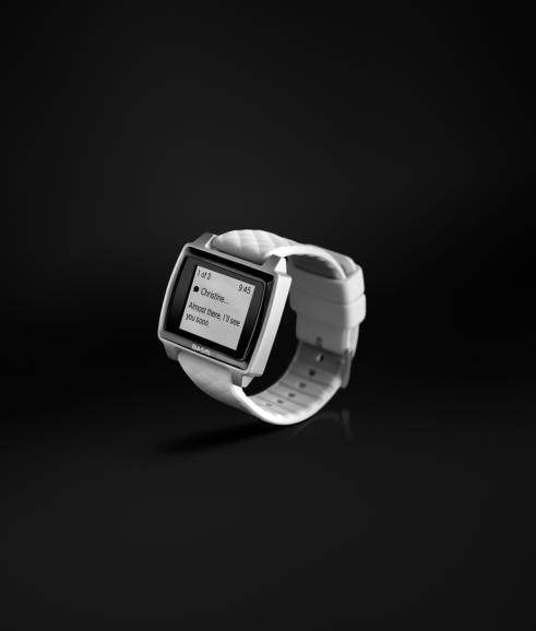 Brushed Aluminum_White - 3_4 Turn Smartwatch Notifications