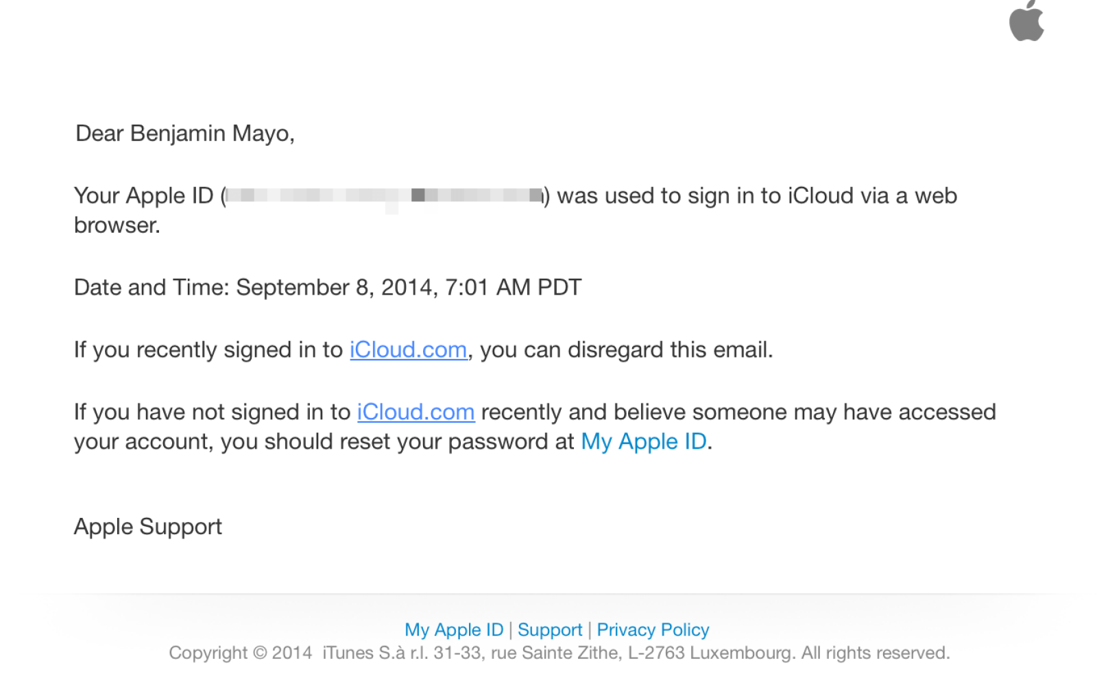 Apple now sending email notifications when users sign in to