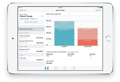 "Advise & Grow ""Small-business bankers now have a powerful tool to help their clients in a big way with the Advise & Grow app on iPad. Wherever the client meeting may be, bankers have visibility into relevant account information on the spot. Client financial and credit data, customer profiles, and competitive analysis are available on tap, with all the number crunching going on behind the scenes in real time. Never before has banking been so convenient for the small business owner — with more time to discuss the bottom line."""
