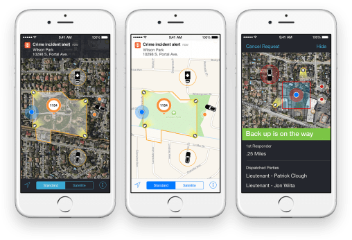 """Incident Aware """"With the Incident Aware app, police officers can know each other's whereabouts with greater insights in emergency situations. When law enforcement officials receive an emergency call, responders can go in with a bird's-eye view of the scene's perimeter that includes GPS map data, the location of those involved in the incident, and live video feeds updated in real time on their iPhone devices. This powerful and intuitive app can even access police records to calculate risk, letting other law enforcement stakeholders know where and when other responders will appear. With awareness of the situation as it unfolds on iPhone, law enforcement officials can make far more informed, safety‑conscious decisions."""""""