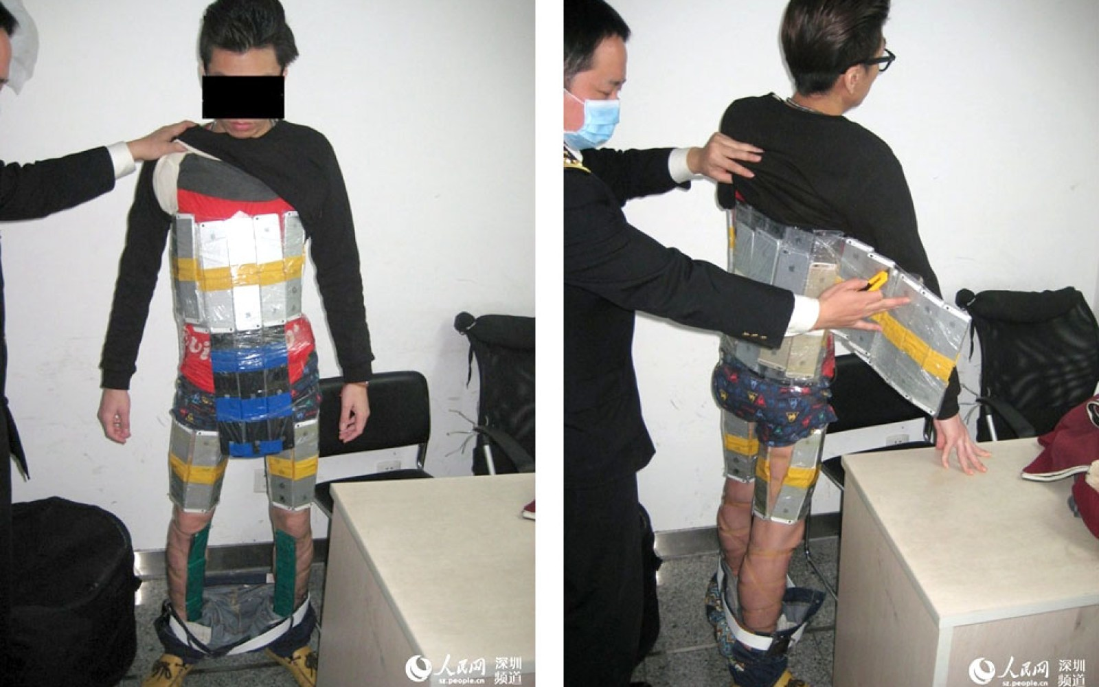 Chinese iPhone smuggler caught with 94 iPhones strapped to his body