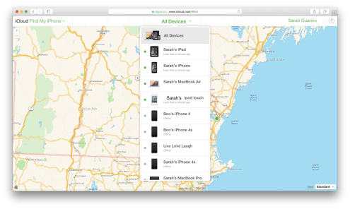 Find my iPhone all devices listed