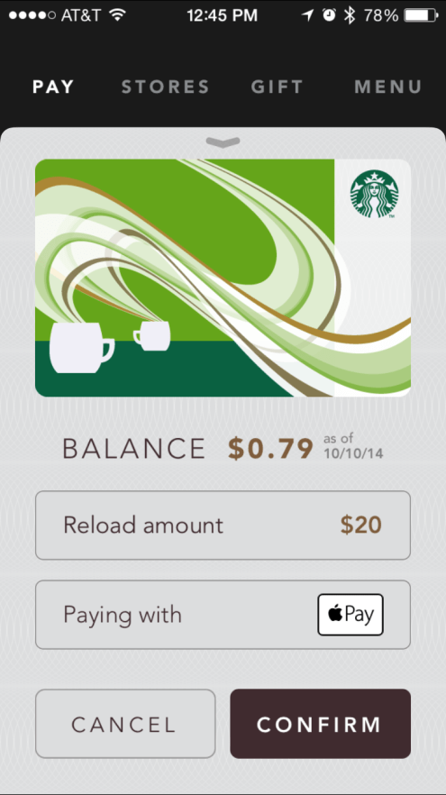 Starbucks Apple Pay