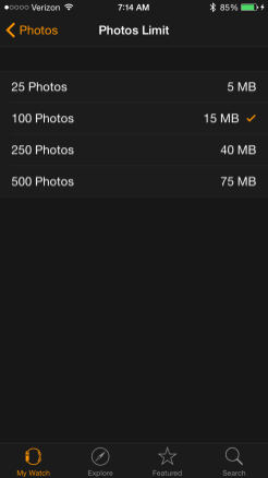 Photos Limit on Apple Watch