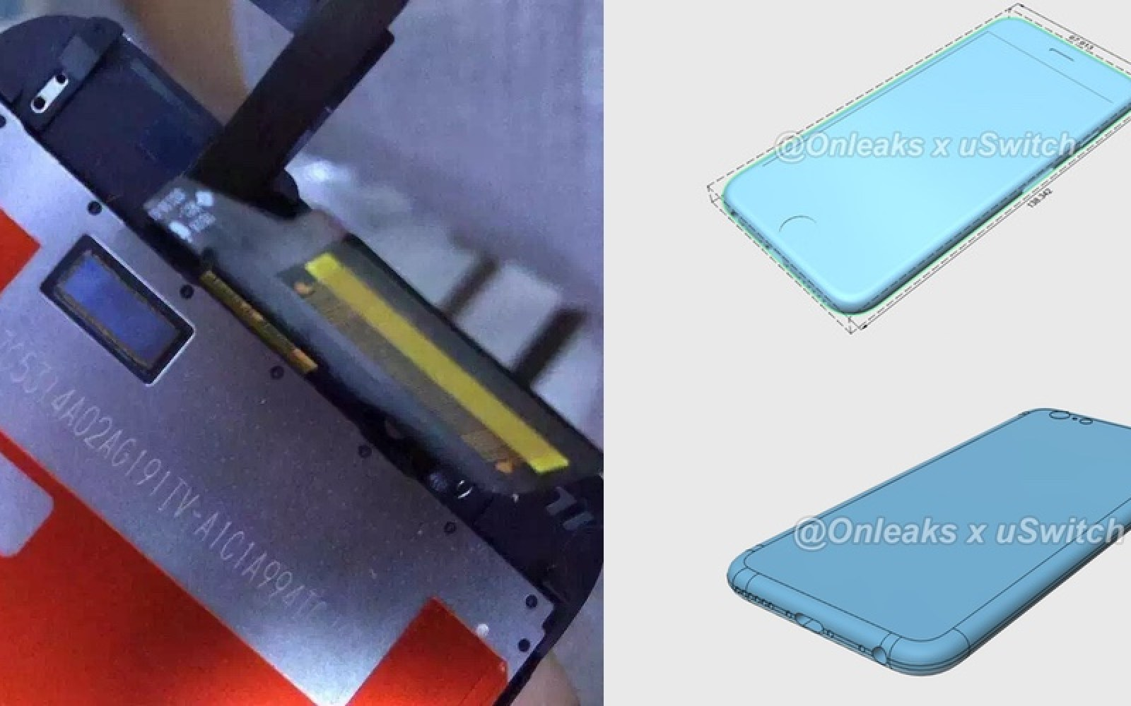 Purported iPhone 6s screen panels leak showing Force Touch, renders suggest 0.2mm thicker casing