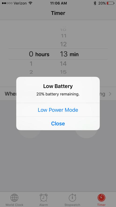 iOS 9 Low Battery Alert