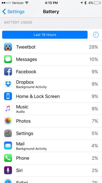iOS 9 Battery app % usage