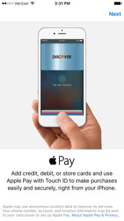 iOS 9 Set up Apple Pay