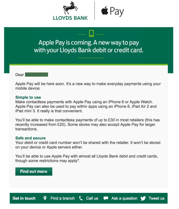 Lloyds ApplePay email