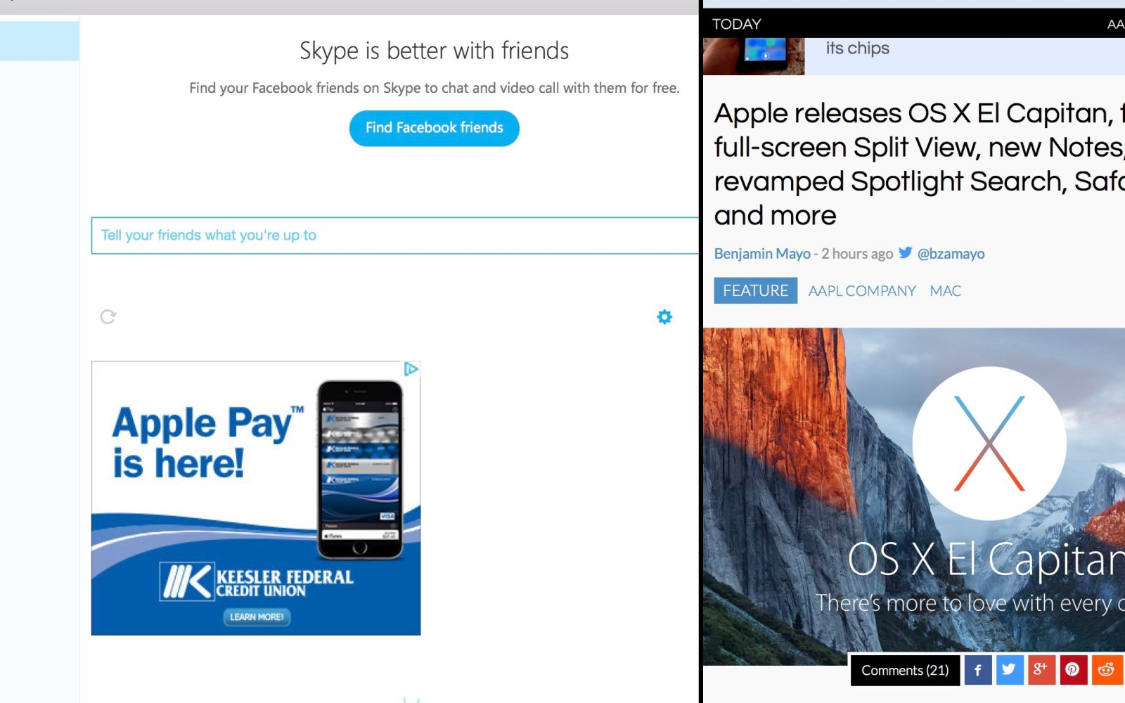 Skype for mac now supports split view on os x el capitan 9to5mac skype for mac now supports split view on os x el capitan ccuart Image collections