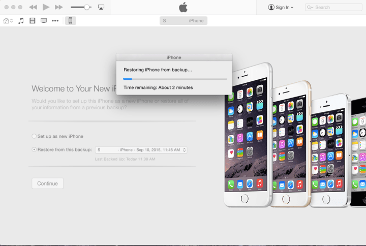 Restore phone from iTunes