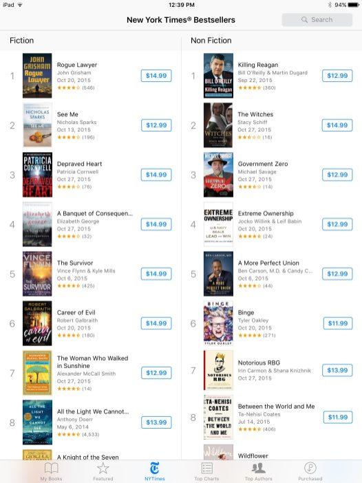 Comparison: iBooks listings on iPad Air