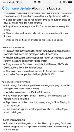 iOS 9.3 Release Notes Page 2