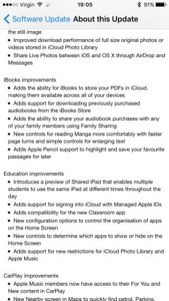 iOS 9.3 Release Notes Page 3
