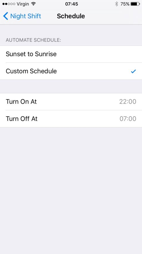 You can now select the Sunrise/Sunset Automatic Schedule for Night Shift.