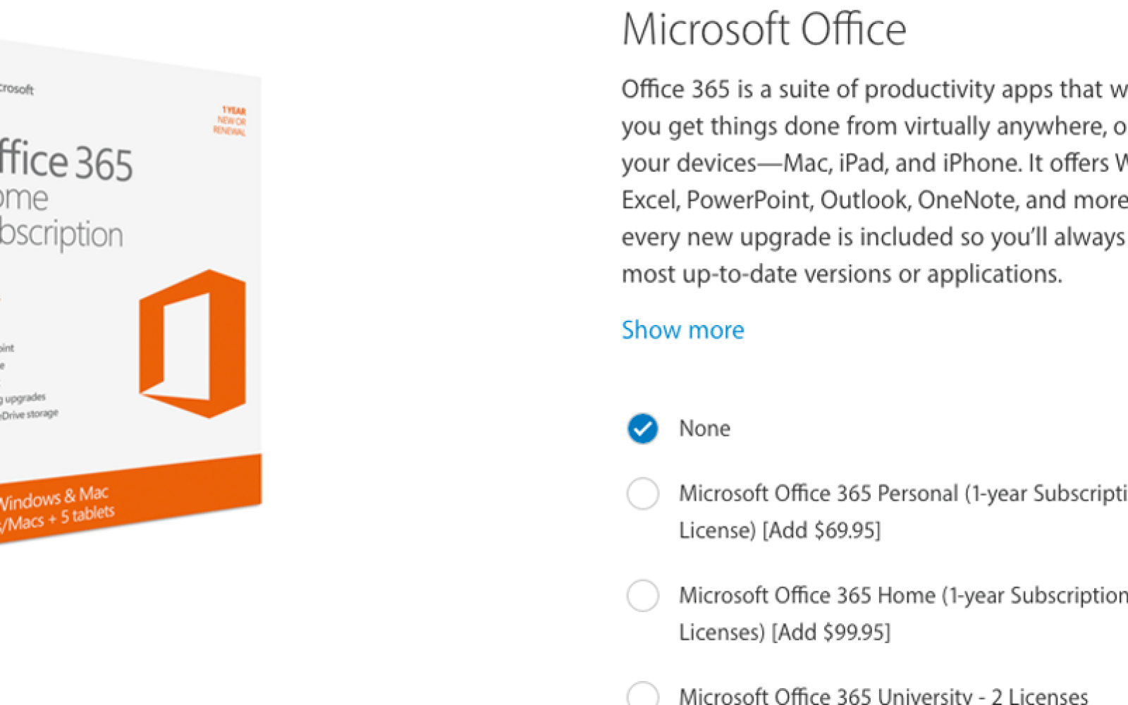 Surprisingly, the online Apple Store now presents Microsoft