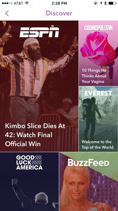 Snapchat 9.32 updated Discover view