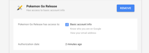 Google Account page showing Pokemon Go's account access