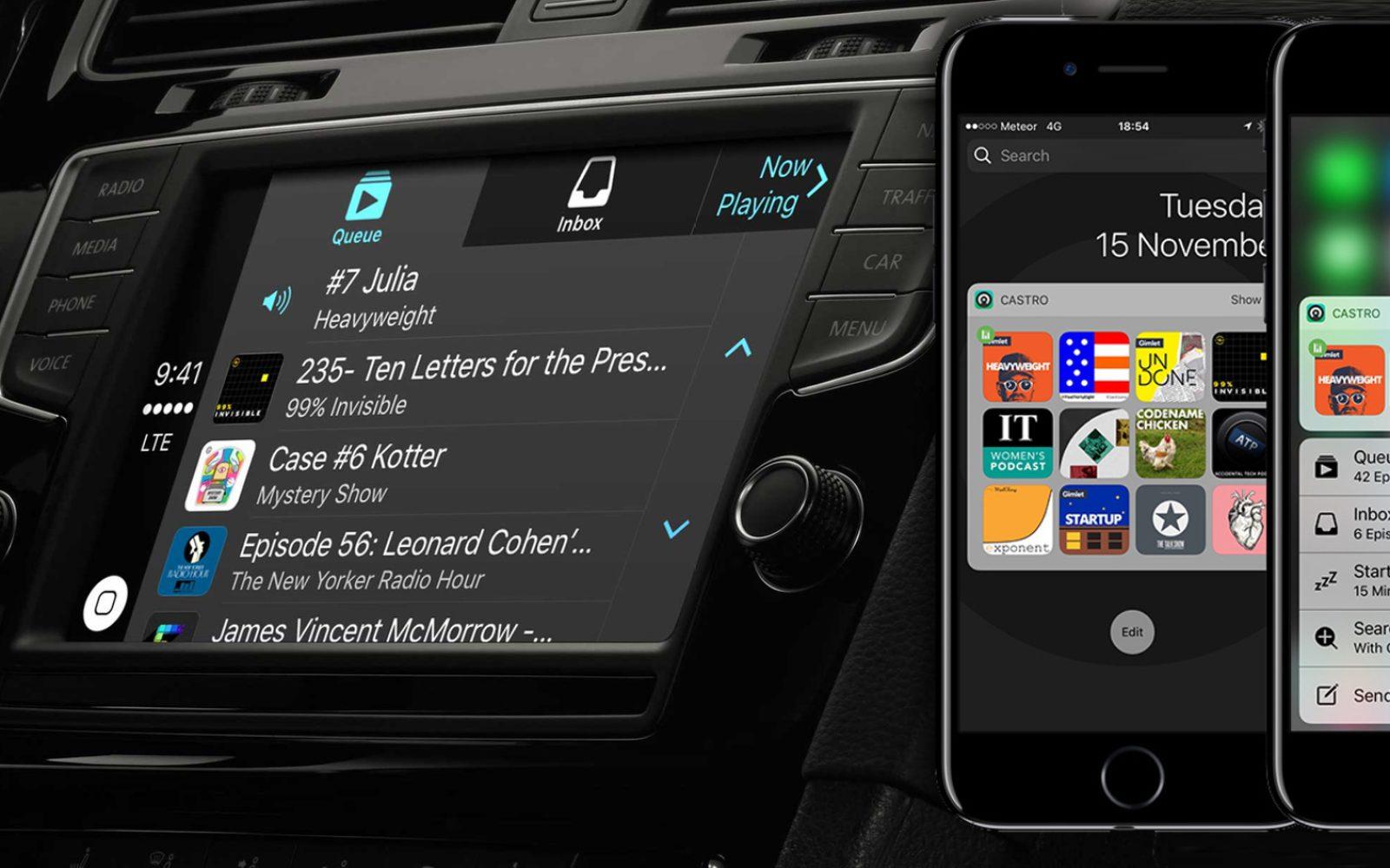 Castro podcast player app adds CarPlay, iOS 10 widget, 3D