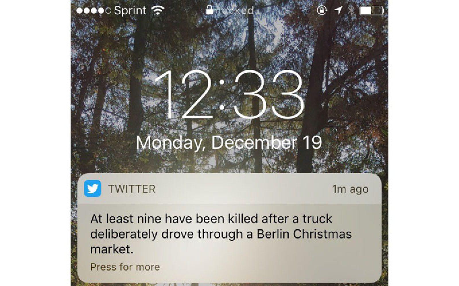 Twitter testing breaking news alerts in iOS app with Berlin