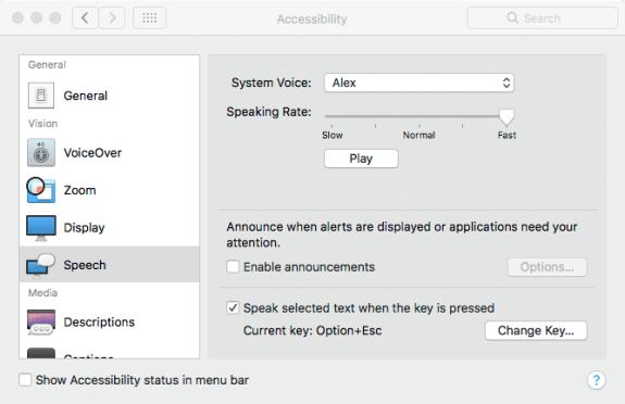 Accessibility > Speech