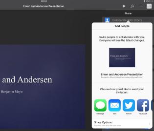 Collaboration sheet on iPad