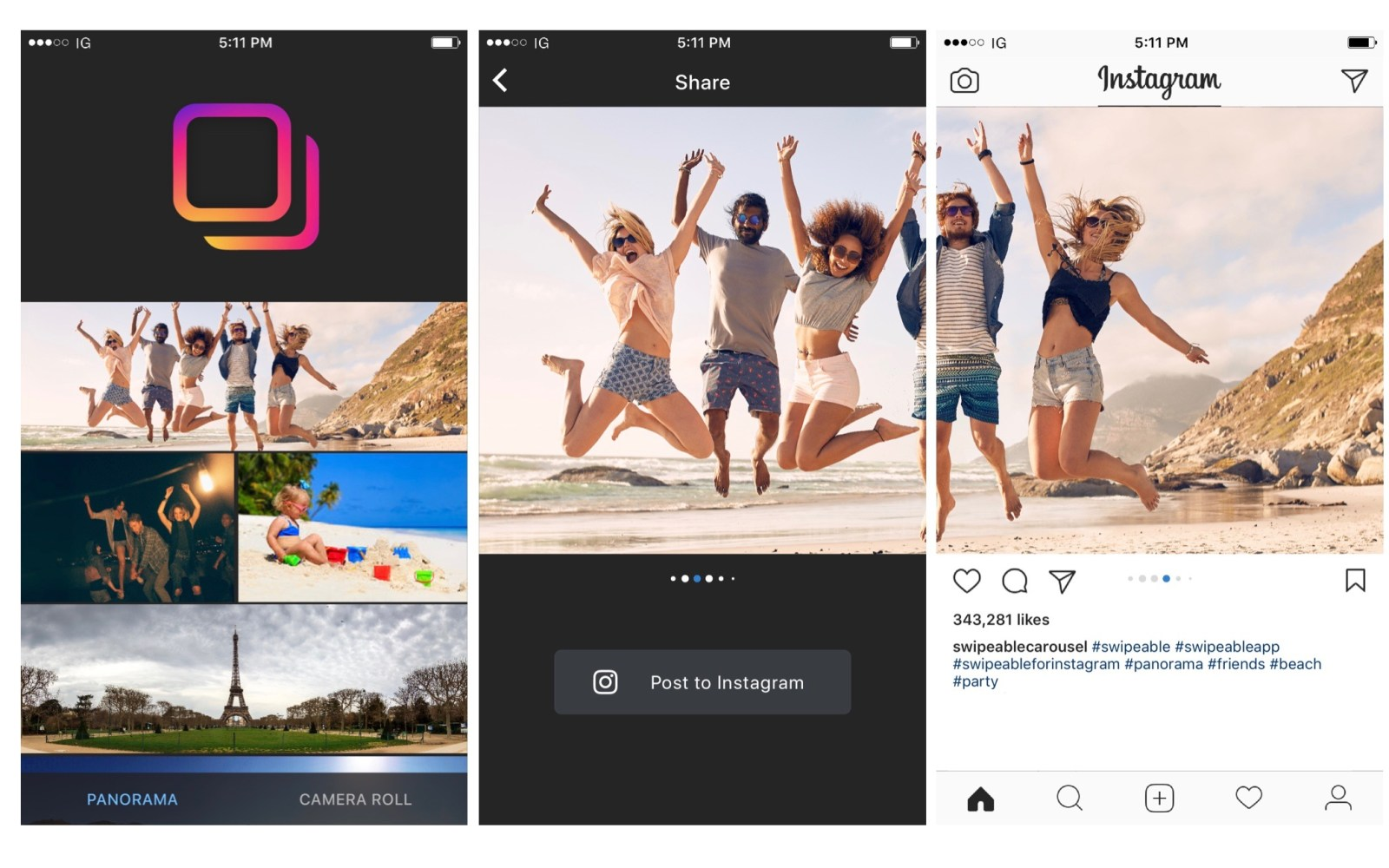 Swipeable app makes sharing panoramic & 360° photos on Instagram a breeze