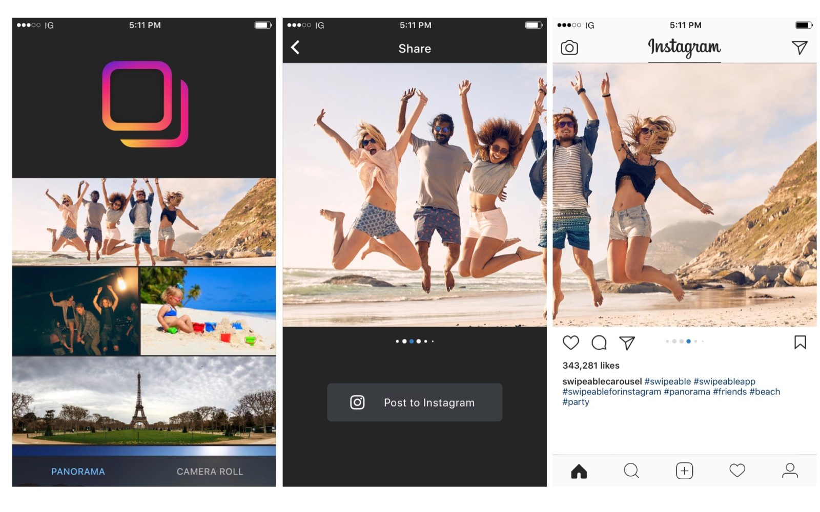 Swipeable app makes sharing panoramic & 360° photos on Instagram a