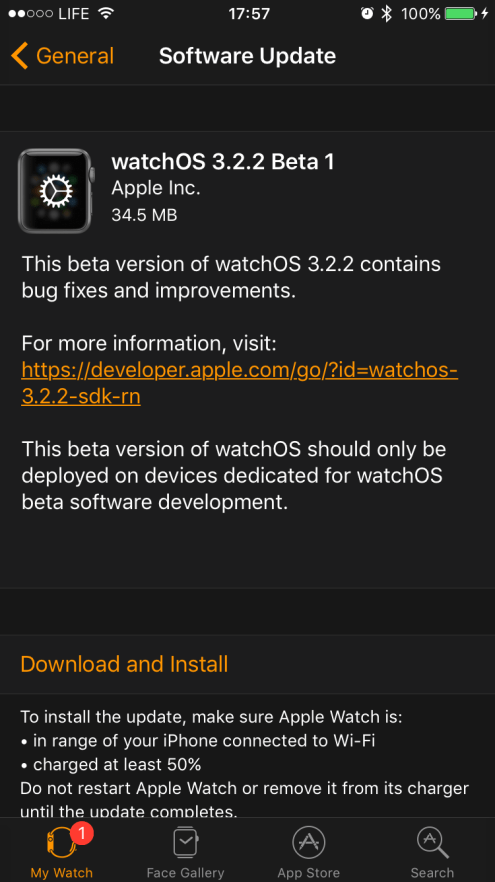 watchOS 3.2.2 beta 1