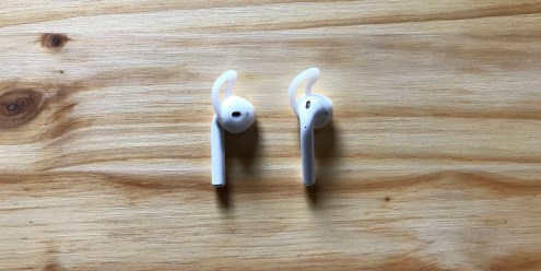 AirPods pictured with EarBuddyz in Clear