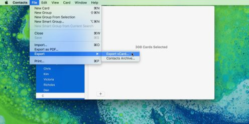 How to export contacts on macOS 1