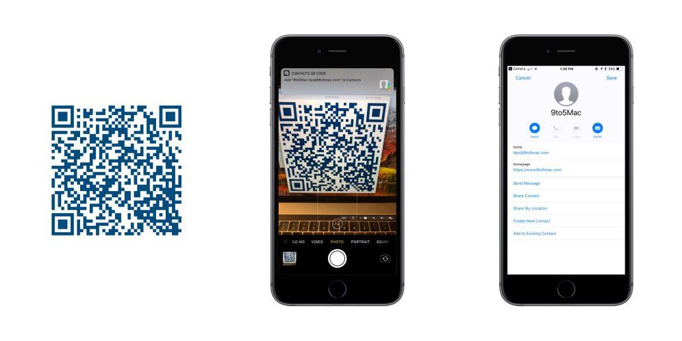 iOS 11 QR Codes Contacts