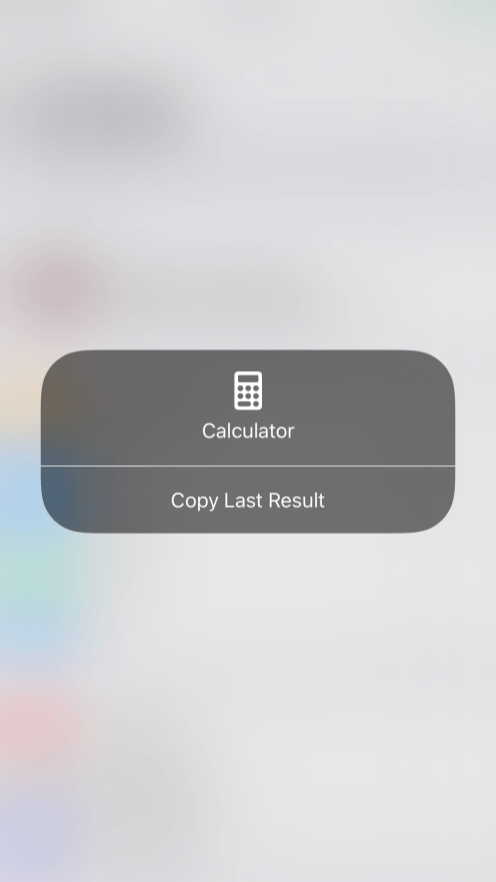 iOS 11 Control Center 3D Touch Calculator
